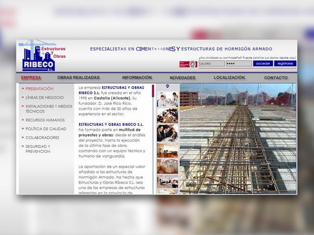 Creación de la página Web de ESTRUCTURAS Y OBRAS RIBECO S.L.